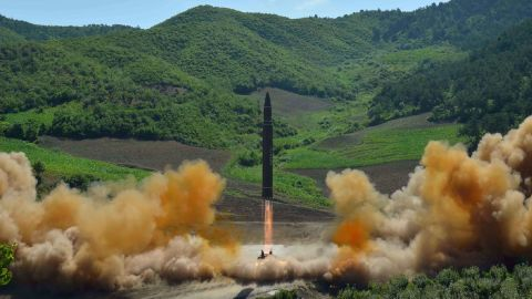 """This picture taken and released on July 4, 2017 by North Korea's official Korean Central News Agency (KCNA) shows the test-fire of the intercontinental ballistic missile Hwasong-14 at an undisclosed location.North Korea declared on July 4 it had successfully tested its first intercontinental ballistic missile -- a watershed moment in its push to develop a nuclear weapon capable of hitting the mainland United States. / AFP PHOTO / KCNA VIA KNS / STR / South Korea OUT / REPUBLIC OF KOREA OUT   ---EDITORS NOTE--- RESTRICTED TO EDITORIAL USE - MANDATORY CREDIT """"AFP PHOTO/KCNA VIA KNS"""" - NO MARKETING NO ADVERTISING CAMPAIGNS - DISTRIBUTED AS A SERVICE TO CLIENTSTHIS PICTURE WAS MADE AVAILABLE BY A THIRD PARTY. AFP CAN NOT INDEPENDENTLY VERIFY THE AUTHENTICITY, LOCATION, DATE AND CONTENT OF THIS IMAGE. THIS PHOTO IS DISTRIBUTED EXACTLY AS RECEIVED BY AFP.  / STR/AFP/Getty Images"""