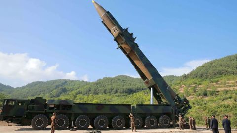 North Korean leader Kim Jong-Un inspecting the test-fire of the intercontinental ballistic missile Hwasong-14 at an undisclosed location.