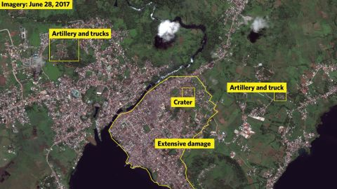 A satellite map of the Philippines city of Marawi, showing military positions and areas of devastation wrought by an ongoing conflict between ISIS-aligned militants and the Philippines' armed forces.
