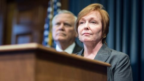 Brenda Fitzgerald, Georgia Department of Public Health commissioner, speaks during a news conference, Monday, Oct. 20, 2014, in Atlanta. Gov. Deal named members of the Georgia Ebola Response Team to assess emergency procedures if Ebola were to spread in Georgia. (AP Photo/Branden Camp)