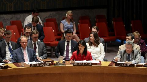 NEW YORK, NY - JULY 5: Nikki Haley, United States ambassador to the United Nations, speaks during an emergency meeting of the U.N. Security Council at United Nations headquarters, July 5, 2017 in New York City. The United States requested an emergency meeting of the U.N. Security Council after North Korea tested an intercontinental ballistic missile earlier this week. (Photo by Drew Angerer/Getty Images)