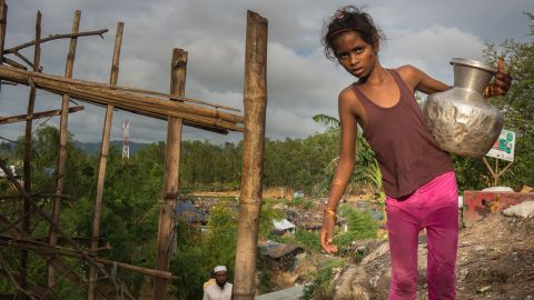 Collecting water in unofficial refugee camp in Cox's Bazar, the Rohingya people have been escaping ethnic cleansing in their home state of Rakhine in Myanmar