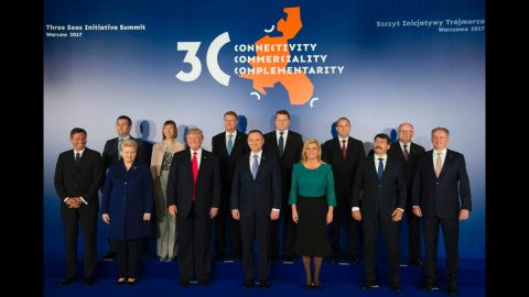 Trump joins world leaders from the Three Seas Initiative, an alliance of Eastern European countries, at the Royal Castle in Warsaw on July 6.