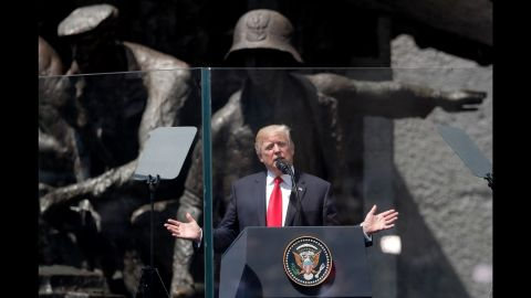 Trump reaffirms US support for NATO in a speech he gave in Warsaw, Poland, on Thursday, July 6. Trump spent a day in Poland before heading to Germany.