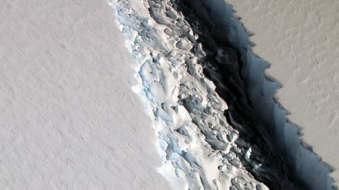 A photo of the cleave breaking Larsen C off its greater ice shelf, November 2016.
