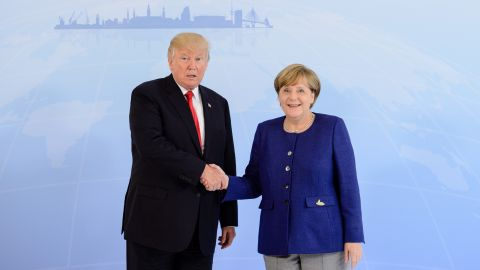 German Chancellor Angela Merkel receives U.S. President Donald Trump in the Hotel Atlantic, on the eve of the G20 summit, for bilateral talks on July 6, 2017 in Hamburg, Germany.