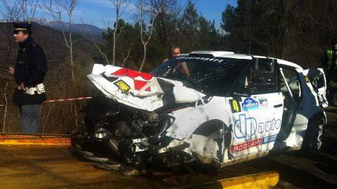 The wrecked car of Robert Kubica following his rally crash.