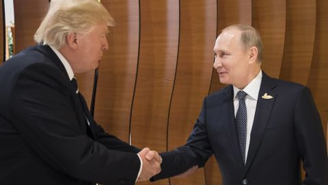 HAMBURG, GERMANY - JULY 07: In this photo provided by the German Government Press Office (BPA) Donald Trump, President of the USA (left), meets Vladimir Putin, President of Russia (right), at the opening of the G20 summit on July 7, 2017 in Hamburg, Germany. The G20 group of nations are meeting July 7-8 and major topics will include climate change and migration.  (Photo by Steffen Kugler /BPA via Getty Images)