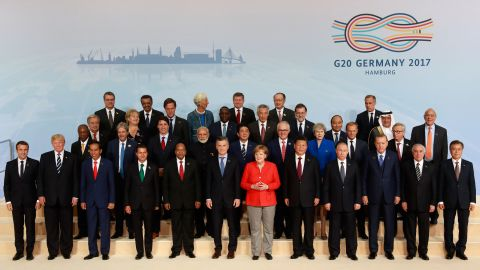 World leaders gather for a photo at the summit. The G20, which includes 19 countries and the European Union, accounts for about 80% of the world's gross domestic product.