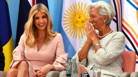 the daughter of the US President Ivanka Trump and the Managing Director of the International Monetary Fund (IMF) Christine Lagarde attend the Women's Entrepreneurship Finance Event at the G20 Summit in Hamburg, Germany, July 8, 2017. / AFP PHOTO / SAUL LOEB        (Photo credit should read SAUL LOEB/AFP/Getty Images)