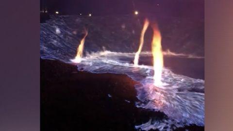 Sulfur fire emits blue flames