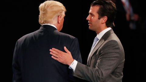 ST LOUIS, MO - OCTOBER 09:  Donald Trump, Jr. (R) greets his father Republican presidential nominee Donald Trump during the town hall debate at Washington University on October 9, 2016 in St Louis, Missouri. This is the second of three presidential debates scheduled prior to the November 8th election.  (Photo by Rick Wilking/Pool/Getty Images)