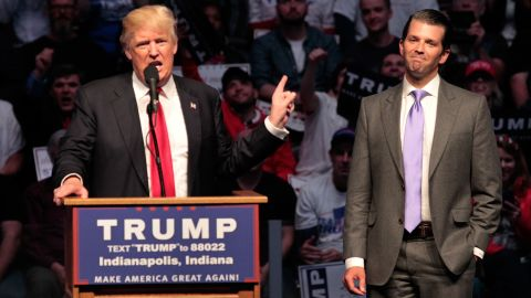 INDIANAPOLIS, IN - APRIL 27: Republican presidential candidate Donald Trump introduces his son Donald Trump Jr. as he addresses the crowd during a campaign rally at the Indiana Farmers Coliseum on April 27, 2016 in Indianapolis, Indiana. Trump is preparing for the Indiana Primary on May 3.   (Photo by John Sommers II/Getty Images)