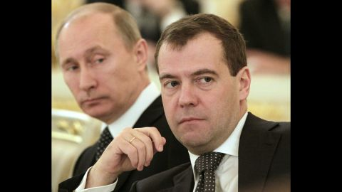 Putin and Medvedev attend a session of the State Council in Moscow in December 2011. A few months later, Putin was re-elected president and Medvedev became his prime minister.