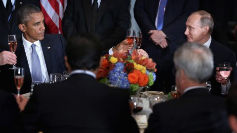 """US President Barack Obama shares a toast with Putin at a luncheon in New York hosted by UN Secretary-General Ban Ki-moon in September 2015. """"Amid the inevitable trials and setbacks, may we never relax in our pursuit of progress and may we never abandon the pursuit of peace,"""" Obama said before clinking glasses. """"Cheers."""" The two, bitterly at odds over issues in Ukraine and Syria, <a href=""""http://www.cnn.com/2015/09/28/politics/obama-putin-meeting-syria-ukraine/"""" target=""""_blank"""">had a closed-door meeting</a> later in the day."""