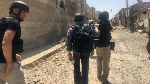 CNN team inside the old city of Raqqa. First TV journalist inside.
