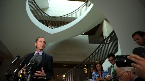 House Intelligence Committee ranking member Rep. Adam Schiff speaks to reporters about the recent disclosure of a meeting between Donald Trump, Jr. and a Russian lawyer during the presidential campaign in the Capitol Visitors Center July 11, 2017 in Washington, DC. Schiff said it was troubling that the Trump campaign did not tell the FBI that a Kremlin-connected Russian lawyer reached out to them with an offer of information that would help their campaign against Hillary Clinton.