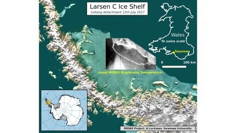 Map showing iceberg detachment based on data from NASA dated July 12.