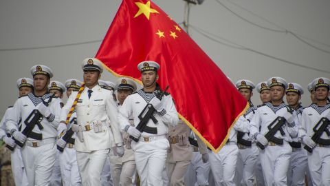 Chinese People's Liberation Army-Navy troops march in Djibouti's independence day parade on June 27, 2017, marking 40 years since the end of French rule in the Horn of Africa country.