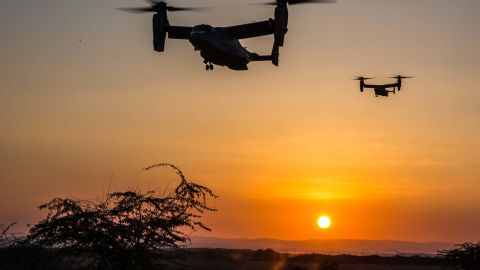 DJIBOUTI, Africa (January 10, 2017) MV-22 Ospreys prepare to land at a landing zone during a helo-borne raid as part of sustainment training conducted in Djibouti, Jan. 10. Ospreys have the ability to transport Marines and Sailors quickly to the battlefield due to its ability to tilt its rotors horizontally and fly like an airplane. The Ospreys and crew are with Marine Medium Tiltrotor Squadron 163 (Reinforced), 11th Marine Expeditionary Unit. (U.S. Marine Corps photo by Lance Cpl. Brandon Maldonado)