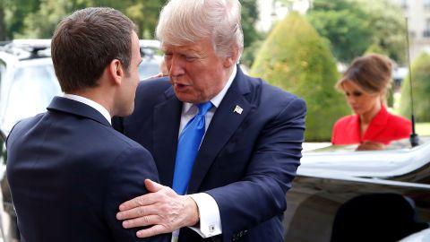 Macron greets Trump at Les Invalides.