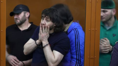 Zaur Dadayev (C) is seen in court after being handed a sentence of 20 years in a high-security prison colony on Thursday.