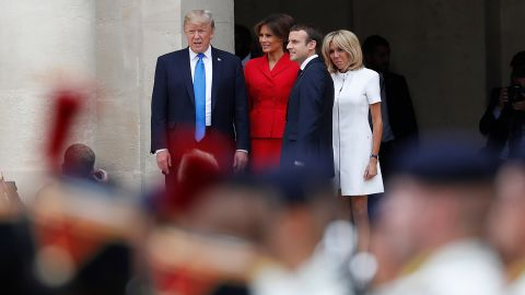 The Trumps and the Macrons attend a welcoming ceremony at Les Invalides, which houses Napoleon's tomb.