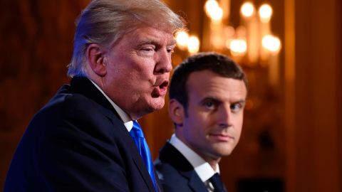 """Trump and Macron <a href=""""http://www.cnn.com/2017/07/13/politics/trump-paris-press-conference/index.html"""" target=""""_blank"""">hold a news conference</a> after meeting at the Elysee Palace in Paris on July 13."""