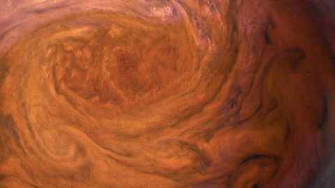 Jupiter's Great Red Spot is a storm with a 10,000-mile-wide cluster of clouds in July 2017.