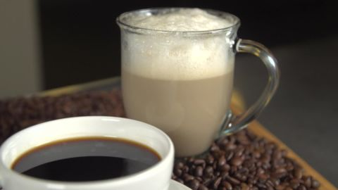 A cup of brewed black coffee has only five calories, while a nonfat cappuccino has 60.