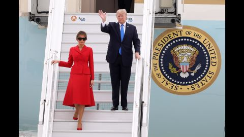 The Trumps arrive at Paris' Orly Airport in July. They were invited by French President Emmanuel Macron to attend the country's Bastille Day celebrations.
