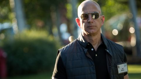 SUN VALLEY, ID - JULY 13: Jeff Bezos, chief executive officer of Amazon, arrives for the third day of the annual Allen & Company Sun Valley Conference, July 13, 2017 in Sun Valley, Idaho. Every July, some of the world's most wealthy and powerful businesspeople from the media, finance, technology and political spheres converge at the Sun Valley Resort for the exclusive weeklong conference.