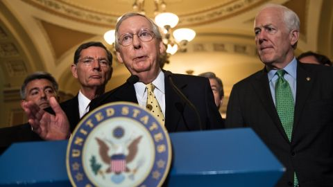 Senate Majority Leader Senator Mitch McConnell (R-KY) speaks after a weekly meeting with Senate Republicans on Capitol Hill July 18, 2017 in Washington, DC. (BRENDAN SMIALOWSKI/AFP/Getty Images)