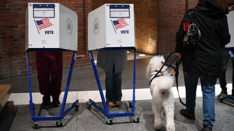 People vote at the Brooklyn Museum polling station in the Brooklyn borough of New York City on November 8, 2016.  AFP / ANGELA WEISS