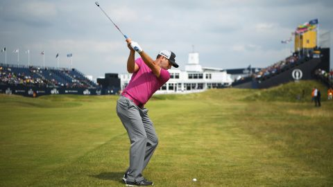 Sergio Garcia won his first major this year, at the Masters in Augusta, and the Spaniard was confident at Royal Birkdale, having also finished in the top 10 on 10 occasions at the Open. Here he is hitting an approach to the 18th green during practice.