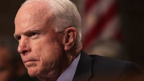 Committee chairman Sen. John McCain (R-AZ) listens during a hearing before Senate Armed Services Committee February 9, 2017 on Capitol Hill in Washington, DC.