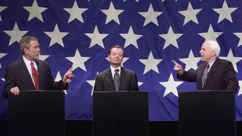 Republican Presidential nomination hopefuls (L-R) George W. Bush, Gary Bauer, and John McCain debate in January 2000.