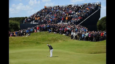 Spieth on the 17th green during the first round of the British Open on July 20, 2017, in Southport, England.