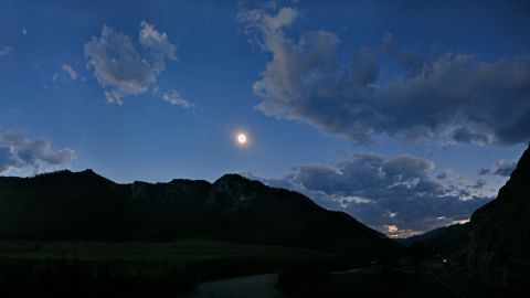 The total solar eclipse of August 2008 seen from Siberia's Altai Mountains, near the Mongolian border. Mercury is close to the sun and Venus can be seen at upper left side of the eclipsed sun.
