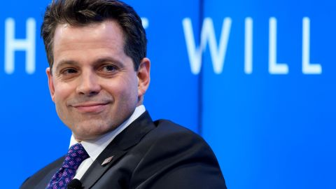 """Assistant to the US President Donald Trump Anthony Scaramucci takes part in a meeting on the theme """"Monetary Policy: Where Will Things Land?"""" on the opening day of the World Economic Forum, on January 17, 2017 in Davos."""
