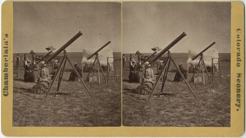 Astronomers Maria Mitchell, left Cora Harrison, center, and Maria's sister Phebe traveled to Denver to watch the total solar eclipse of 1878.