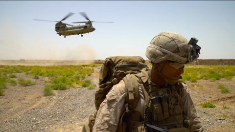 A Chinook helicopter drops off US Marines -- and a CNN team -- at Shorsharak in Helmand province, Afghanistan. The role of the US Marines now is to assist and advise Afghan security forces.