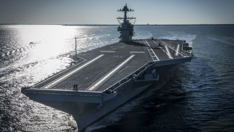 NEWPORT NEWS, VA - APRIL 8:  In this handout photo provided by the U.S. Navy, the future USS Gerald R. Ford (CVN 78) is seen underway on its own power for the first time on April 8, 2017 in Newport News, Virginia. The first-of-class ship -- the first new U.S. aircraft carrier design in 40 years -- will spend several days conducting builder's sea trials, a comprehensive test of many of the ship's key systems and technologies. (Photo by Mass Communication Specialist 2nd Class Ridge Leoni/U.S. Navy via Getty Images)