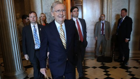 Senate Majority Leader Mitch McConnell (R-KY) walks to a meeting in the U.S. Capitol July 25, 2017 in Washington, DC. The U.S. Senate is scheduled to hold a key procedural vote later today on U.S. President Donald Trump's effort to repeal and replace the Affordable Care Act.