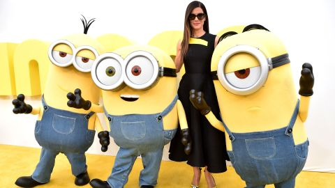 """Bullock, who voices Scarlet Overkill in """"Minions,"""" arrives at the premiere of the """"Despicable Me"""" spin-off in June 2015."""