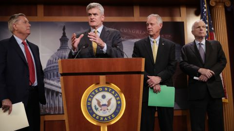 Sen. Lindsey Graham, Sen. Bill Cassidy, Sen. Ron Johnson and Sen. John McCain hold a news conference to say they would not support a 'Skinny Repeal' of health care at the U.S. Capitol July 27, 2017 in Washington, DC. The Republican senators said they would not support any legislation to repeal and replace Obamacare unless it was guaranteed to go to conference with the House of Representatives.