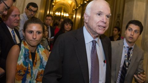 WASHINGTON, DC - JULY 27: Sen John McCain (R-AZ) leaves the Senate Chamber after a vote on a stripped-down, or 'Skinny Repeal,' version of Obamacare reform on July 28, 2017 in Washington, DC. McCain was one of three Republican Senators to vote against the measure. (Photo by Zach Gibson/Getty Images)