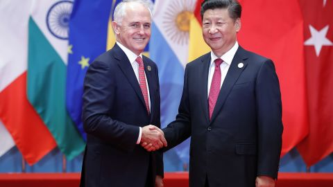 HANGZHOU, CHINA - SEPTEMBER 04:  Chinese President Xi Jinping (right) shakes hands with Australia's Prime Minister Malcolm Turnbull to the G20 Summit at the Hangzhou International Expo Center on September 4, 2016 in Hangzhou, China. World leaders are gathering in Hangzhou for the 11th G20 Leaders Summit from September 4 to 5.  (Photo by Lintao Zhang/Getty Images)