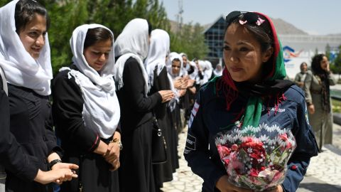 Waiz met with students during her stopover in Kabul on July 12.