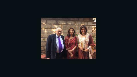 Zain Verjee, right, with her parents in Kenya.